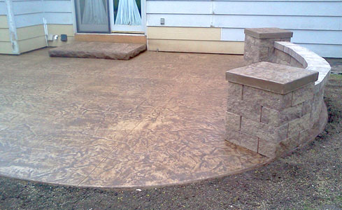 Stamped Concrete Patio with Steps, Wall, and Pillars