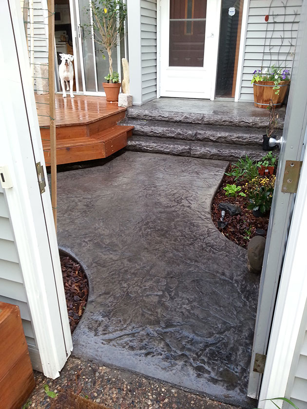 Stamped & Stained Concrete Sidewalk & Steps