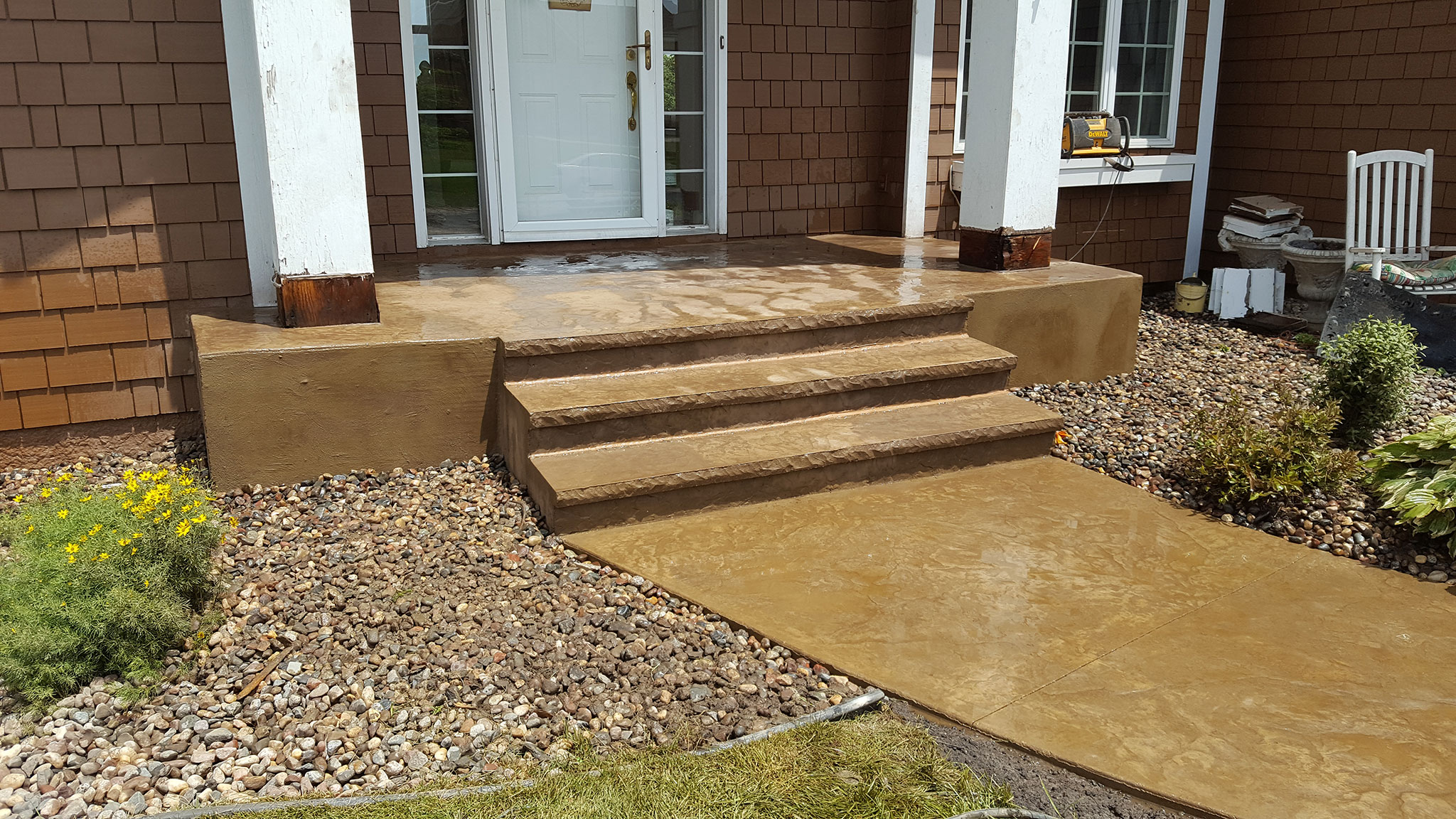 Stamped Colored Concrete Sidewalk & Steps