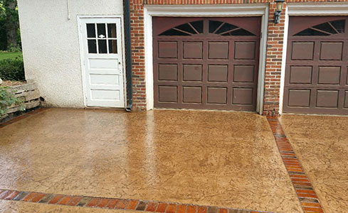 Stamped & Stained Colored Concrete Driveway