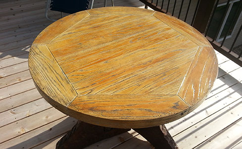 Stained & Stamped Colored Concrete Table