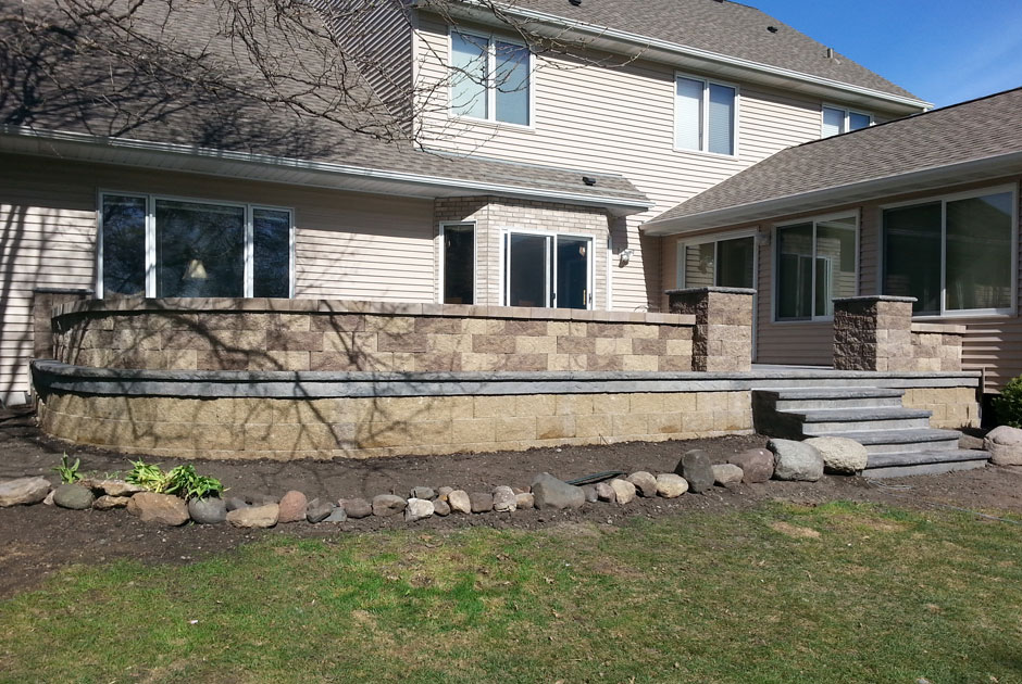 Brick Retaining Wall, Steps & Pillars