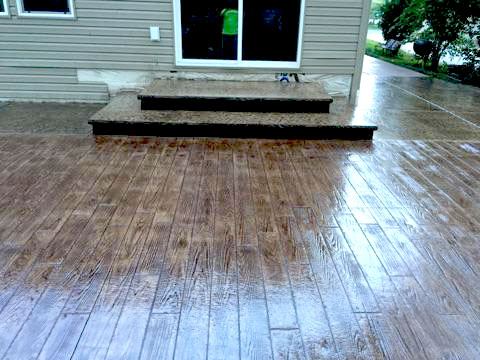 Wood-Stamped Colored Concrete Patio